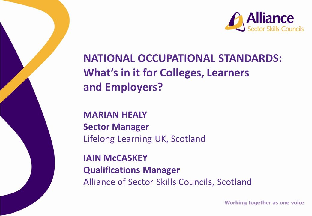 NATIONAL OCCUPATIONAL STANDARDS: Whats in it for Colleges, Learners and Employers.