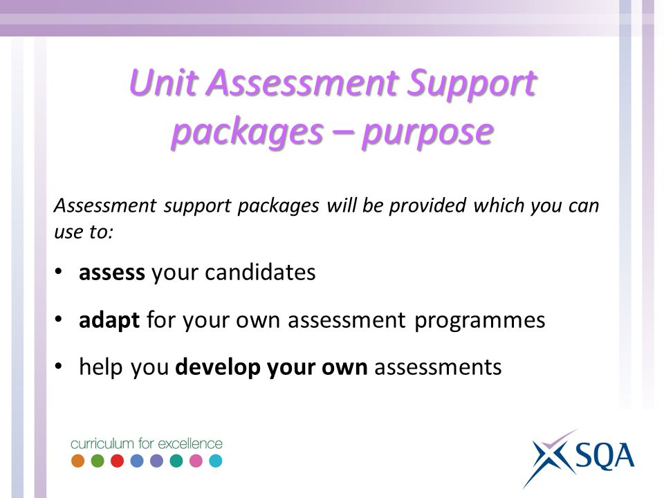 Unit Assessment Support packages – purpose Assessment support packages will be provided which you can use to: assess your candidates adapt for your own assessment programmes help you develop your own assessments