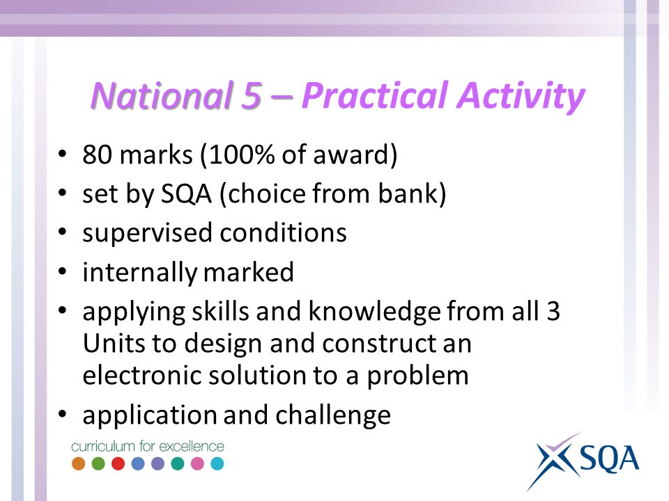 National 5 – National 5 – Practical Activity 80 marks (100% of award) set by SQA (choice from bank) supervised conditions internally marked applying skills and knowledge from all 3 Units to design and construct an electronic solution to a problem application and challenge