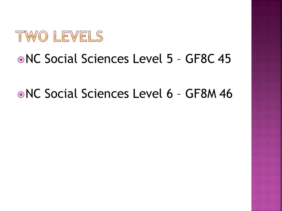 NC Social Sciences Level 5 – GF8C 45 NC Social Sciences Level 6 – GF8M 46
