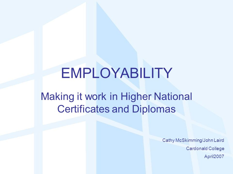 EMPLOYABILITY Making it work in Higher National Certificates and Diplomas Cathy McSkimming/John Laird Cardonald College April2007