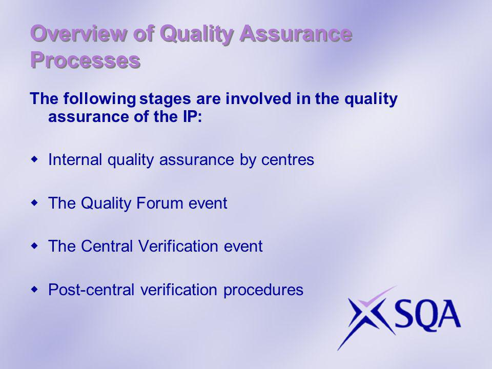 Overview of Quality Assurance Processes The following stages are involved in the quality assurance of the IP: Internal quality assurance by centres Th