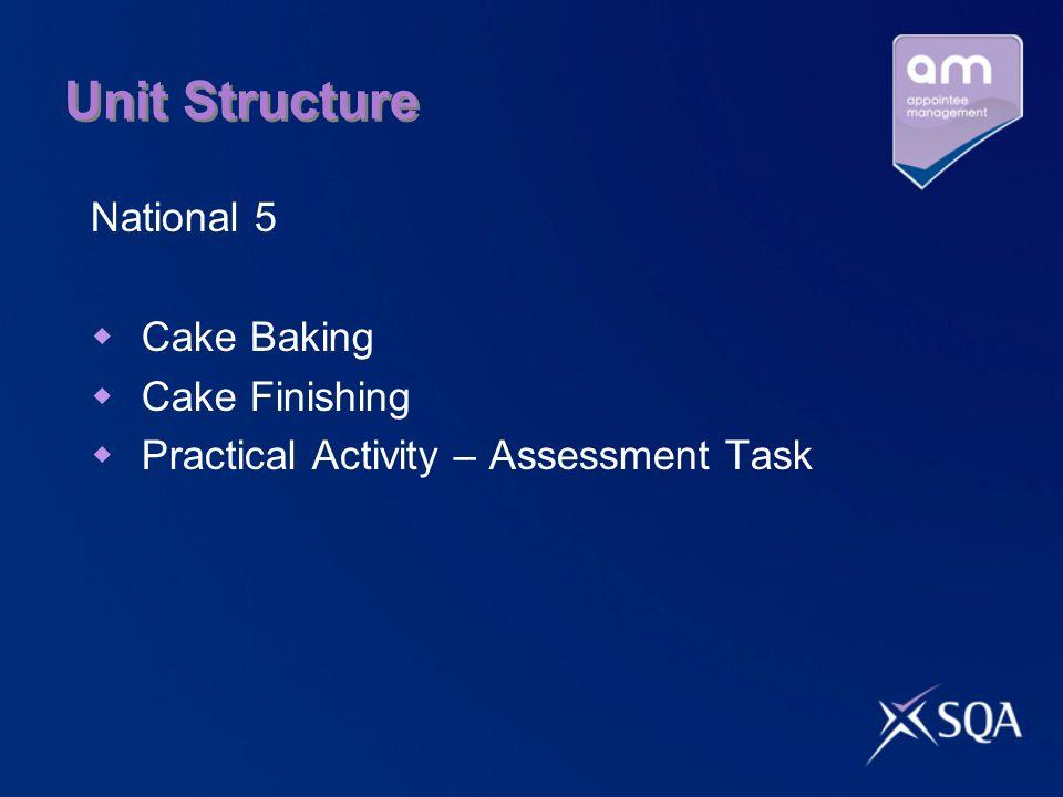 Unit Structure National 5 Cake Baking Cake Finishing Practical Activity – Assessment Task