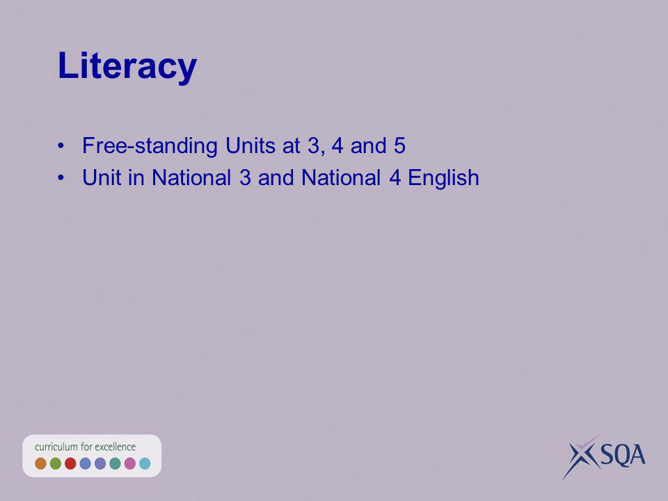 Literacy Free-standing Units at 3, 4 and 5 Unit in National 3 and National 4 English