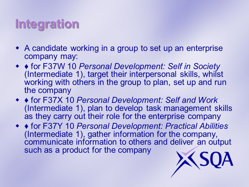 Integration A candidate working in a group to set up an enterprise company may: for F37W 10 Personal Development: Self in Society (Intermediate 1), ta