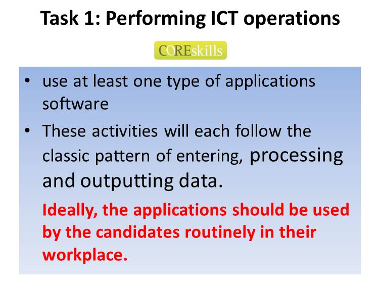 Task 1: Performing ICT operations use at least one type of applications software These activities will each follow the classic pattern of entering, pr