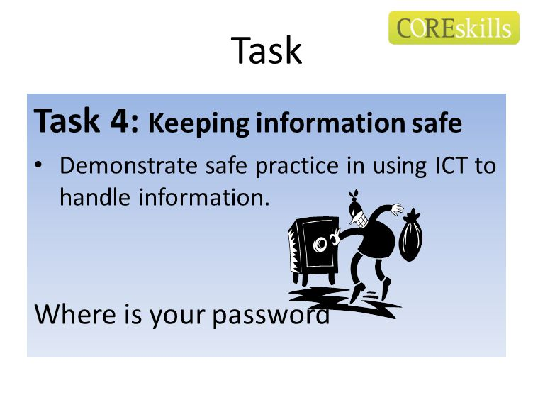 Task Task 4: Keeping information safe Demonstrate safe practice in using ICT to handle information. Where is your password