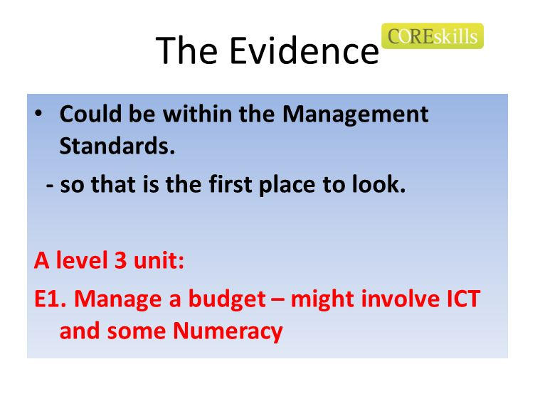 The Evidence Could be within the Management Standards. - so that is the first place to look. A level 3 unit: E1. Manage a budget – might involve ICT a
