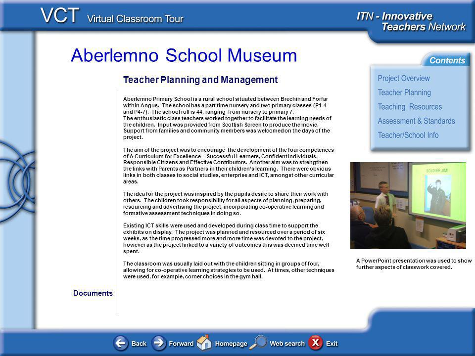 Aberlemno School Museum Teacher Planning and Management Aberlemno Primary School is a rural school situated between Brechin and Forfar within Angus. T