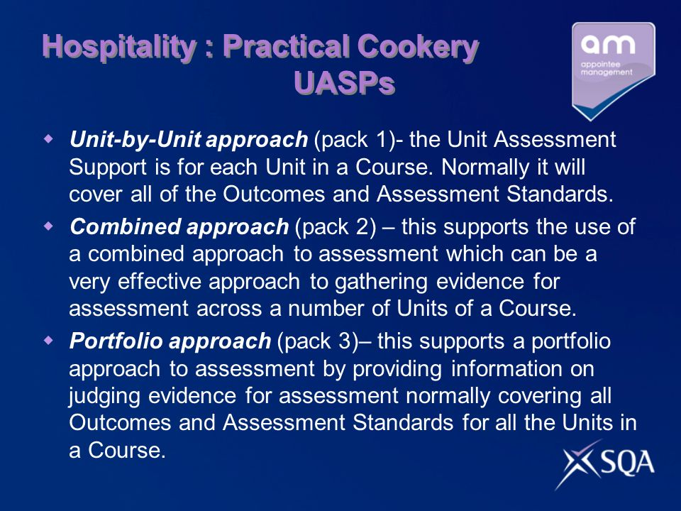 Hospitality : Practical Cookery UASPs Unit-by-Unit approach (pack 1)- the Unit Assessment Support is for each Unit in a Course.