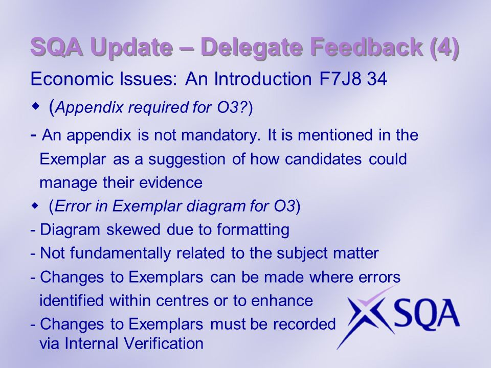 SQA Update – Delegate Feedback (4) Economic Issues: An Introduction F7J8 34 ( Appendix required for O3 ) - An appendix is not mandatory.