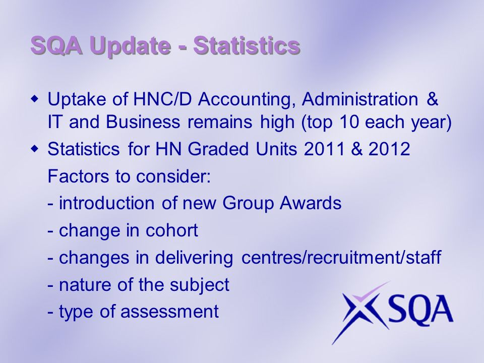 SQA Update - Statistics Uptake of HNC/D Accounting, Administration & IT and Business remains high (top 10 each year) Statistics for HN Graded Units 2011 & 2012 Factors to consider: - introduction of new Group Awards - change in cohort - changes in delivering centres/recruitment/staff - nature of the subject - type of assessment