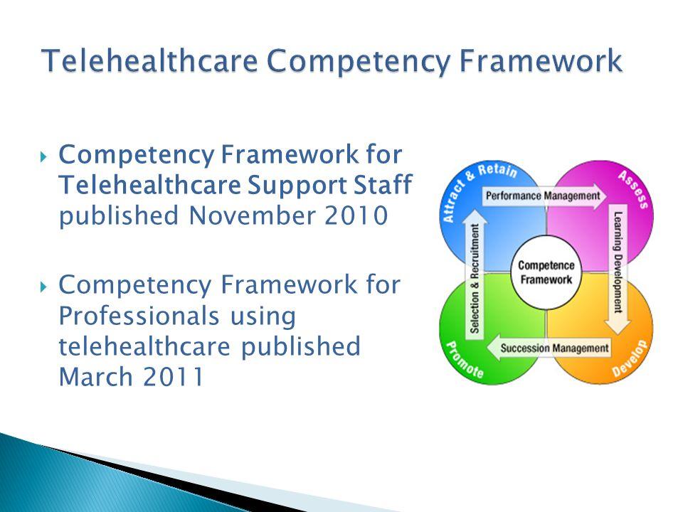 Competency Framework for Telehealthcare Support Staff published November 2010 Competency Framework for Professionals using telehealthcare published Ma