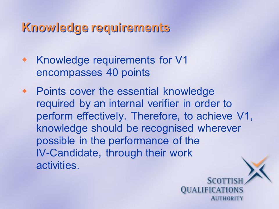 Knowledge requirements Knowledge requirements for V1 encompasses 40 points Points cover the essential knowledge required by an internal verifier in or
