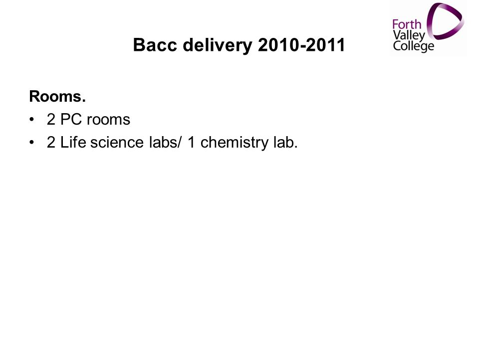 Bacc delivery 2010-2011 Rooms. 2 PC rooms 2 Life science labs/ 1 chemistry lab.