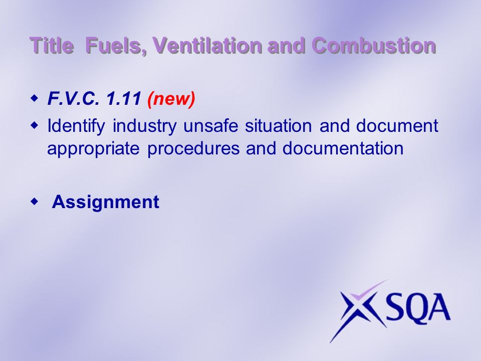 Title Fuels, Ventilation and Combustion F.V.C.
