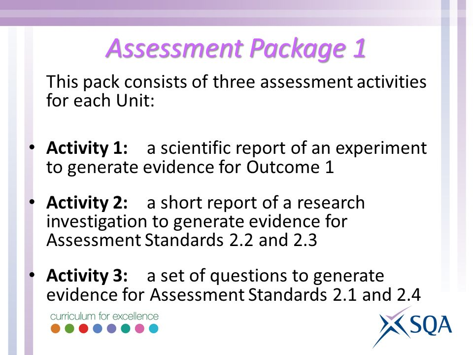 Assessment Package 1 This pack consists of three assessment activities for each Unit: Activity 1:a scientific report of an experiment to generate evidence for Outcome 1 Activity 2:a short report of a research investigation to generate evidence for Assessment Standards 2.2 and 2.3 Activity 3:a set of questions to generate evidence for Assessment Standards 2.1 and 2.4