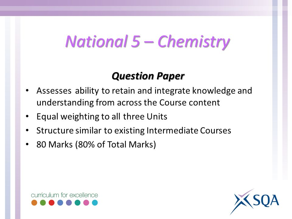 National 5 – Chemistry Question Paper Assesses ability to retain and integrate knowledge and understanding from across the Course content Equal weighting to all three Units Structure similar to existing Intermediate Courses 80 Marks (80% of Total Marks)