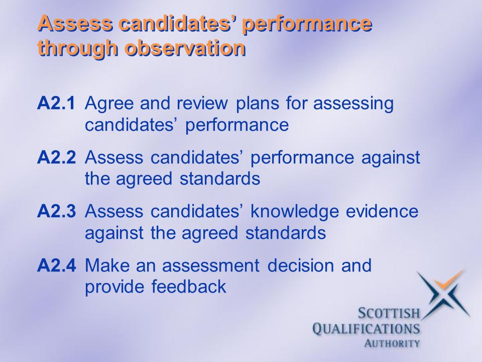 Assess candidates performance through observation A2.1Agree and review plans for assessing candidates performance A2.2Assess candidates performance ag