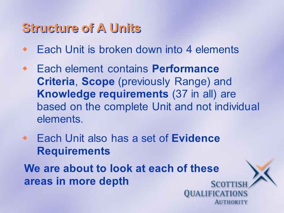 Structure of A Units Each Unit is broken down into 4 elements Each element contains Performance Criteria, Scope (previously Range) and Knowledge requi