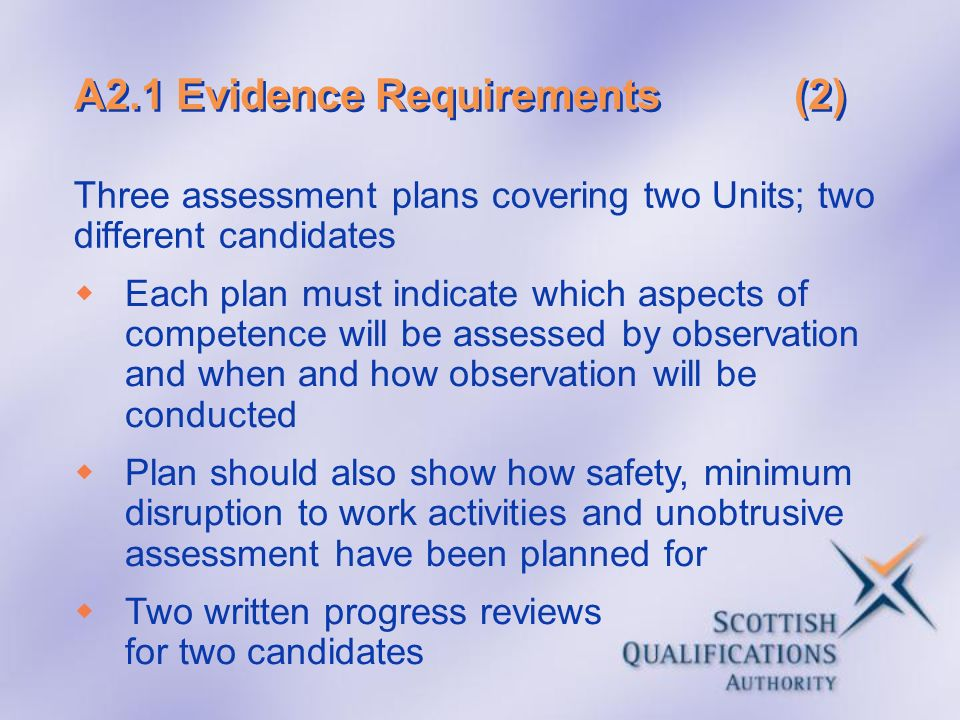 A2.1 Evidence Requirements(2) Three assessment plans covering two Units; two different candidates Each plan must indicate which aspects of competence