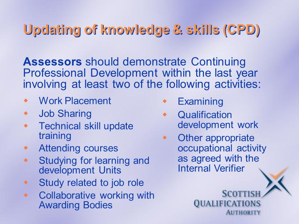 Updating of knowledge & skills (CPD) Work Placement Job Sharing Technical skill update training Attending courses Studying for learning and developmen