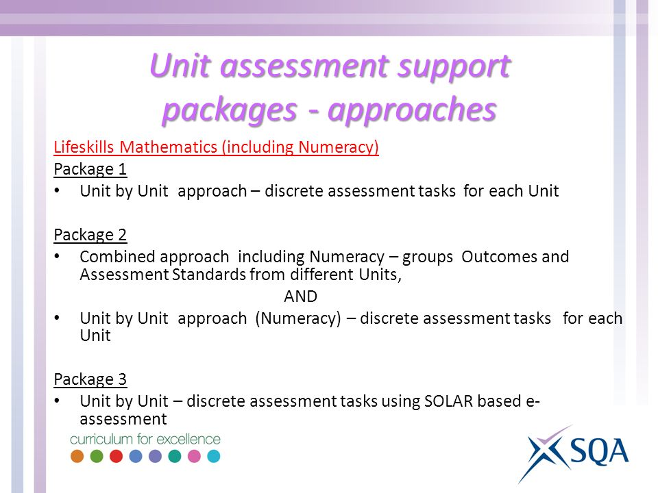 Unit assessment support packages - approaches Lifeskills Mathematics (including Numeracy) Package 1 Unit by Unit approach – discrete assessment tasks