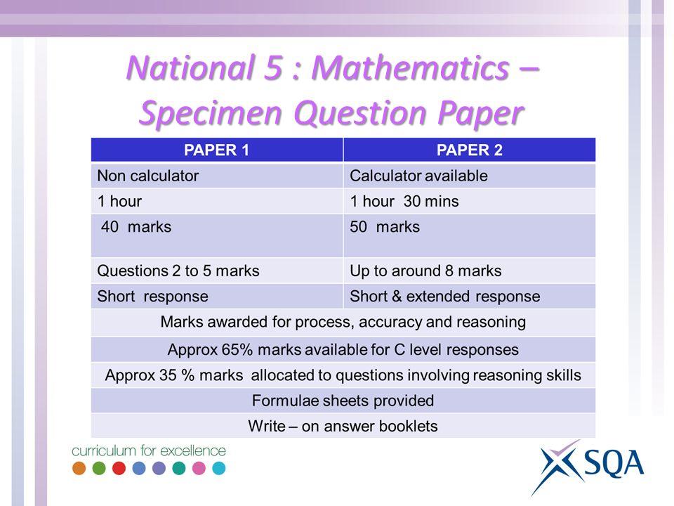 National 5 : Mathematics – Specimen Question Paper