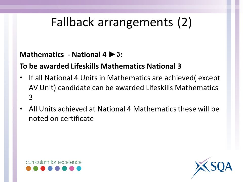 Mathematics - National 4 3 : To be awarded Lifeskills Mathematics National 3 If all National 4 Units in Mathematics are achieved( except AV Unit) cand