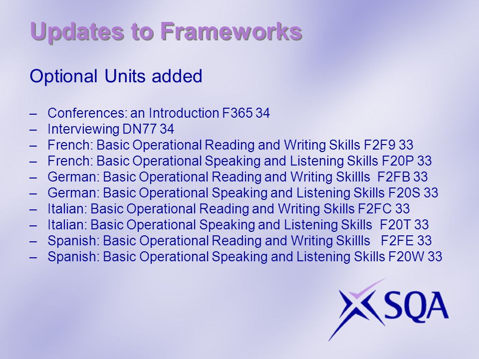 Updates to Frameworks Optional Units added –Conferences: an Introduction F365 34 –Interviewing DN77 34 –French: Basic Operational Reading and Writing