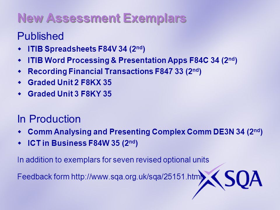 New Assessment Exemplars Published ITIB Spreadsheets F84V 34 (2 nd ) ITIB Word Processing & Presentation Apps F84C 34 (2 nd ) Recording Financial Tran