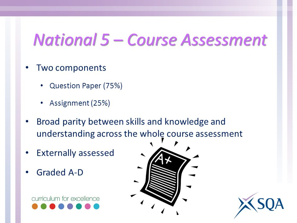 National 5 – Course Assessment Two components Question Paper (75%) Assignment (25%) Broad parity between skills and knowledge and understanding across