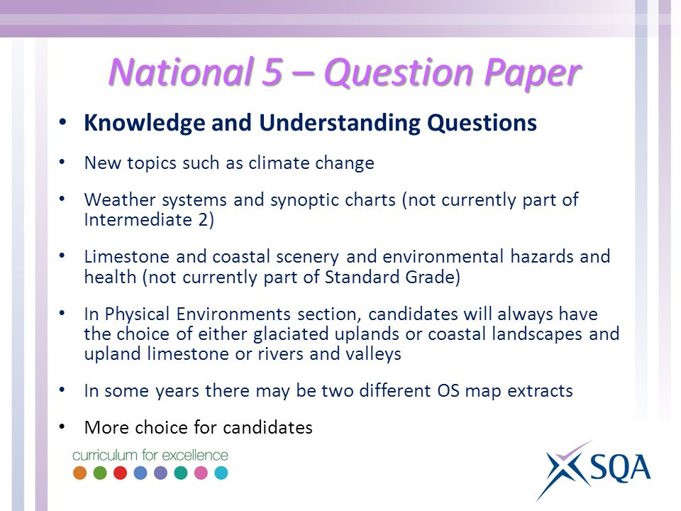 National 5 – Question Paper Knowledge and Understanding Questions New topics such as climate change Weather systems and synoptic charts (not currently