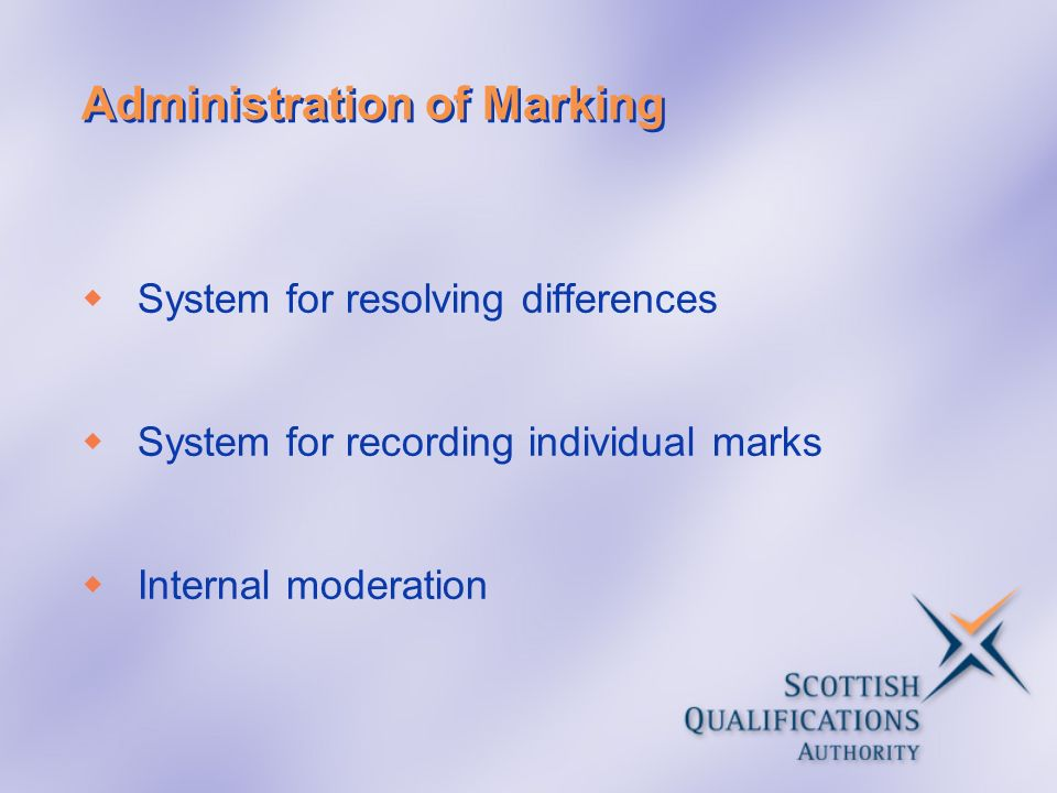 Administration of Marking System for resolving differences System for recording individual marks Internal moderation