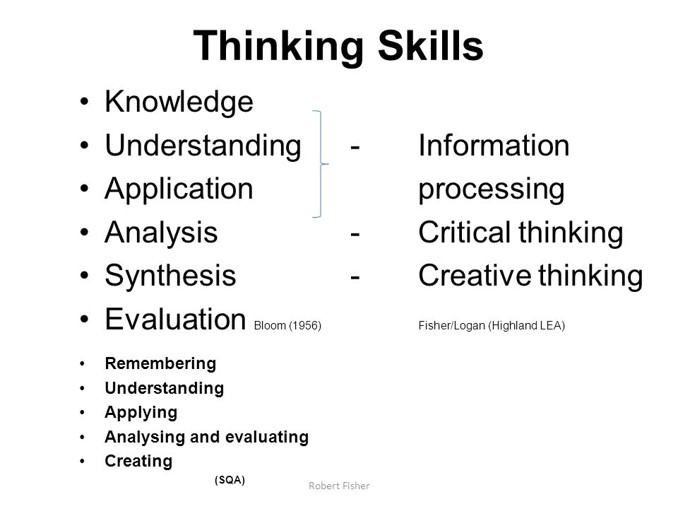 Thinking Skills Knowledge Understanding -Information Application processing Analysis -Critical thinking Synthesis - Creative thinking Evaluation Bloom