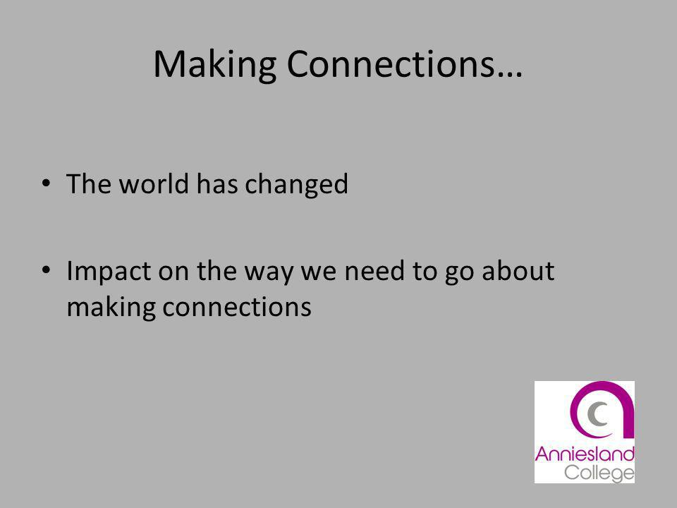 Making Connections… The world has changed Impact on the way we need to go about making connections