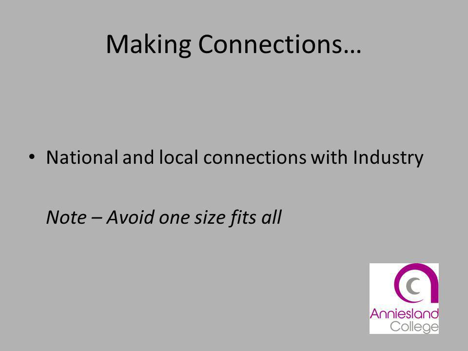Making Connections… National and local connections with Industry Note – Avoid one size fits all