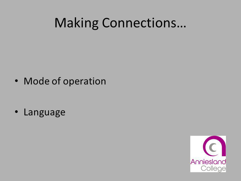 Making Connections… Mode of operation Language