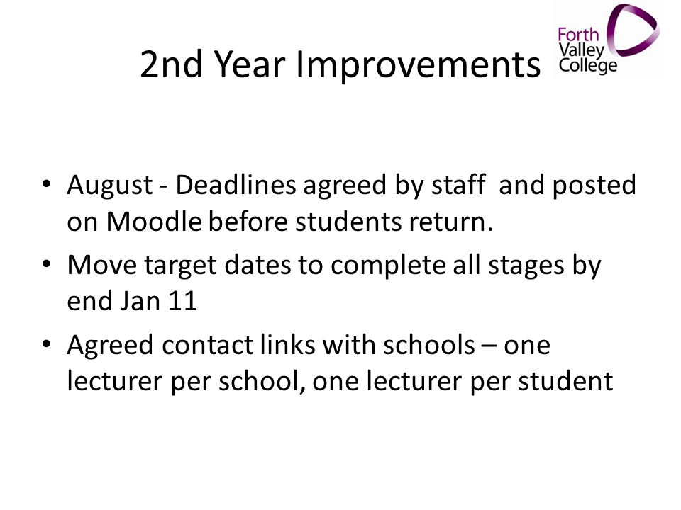 2nd Year Improvements August - Deadlines agreed by staff and posted on Moodle before students return. Move target dates to complete all stages by end