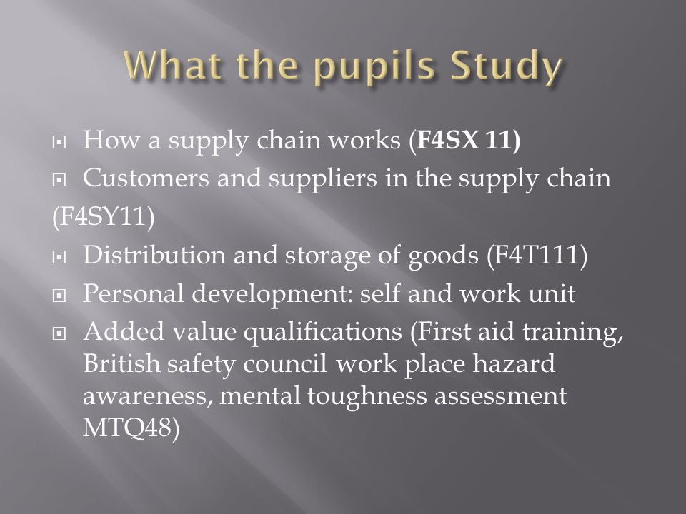 How a supply chain works ( F4SX 11) Customers and suppliers in the supply chain (F4SY11) Distribution and storage of goods (F4T111) Personal development: self and work unit Added value qualifications (First aid training, British safety council work place hazard awareness, mental toughness assessment MTQ48)