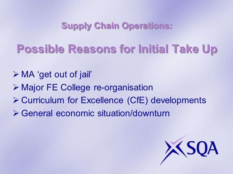 Supply Chain Operations: Possible Reasons for Initial Take Up MA get out of jail Major FE College re-organisation Curriculum for Excellence (CfE) developments General economic situation/downturn