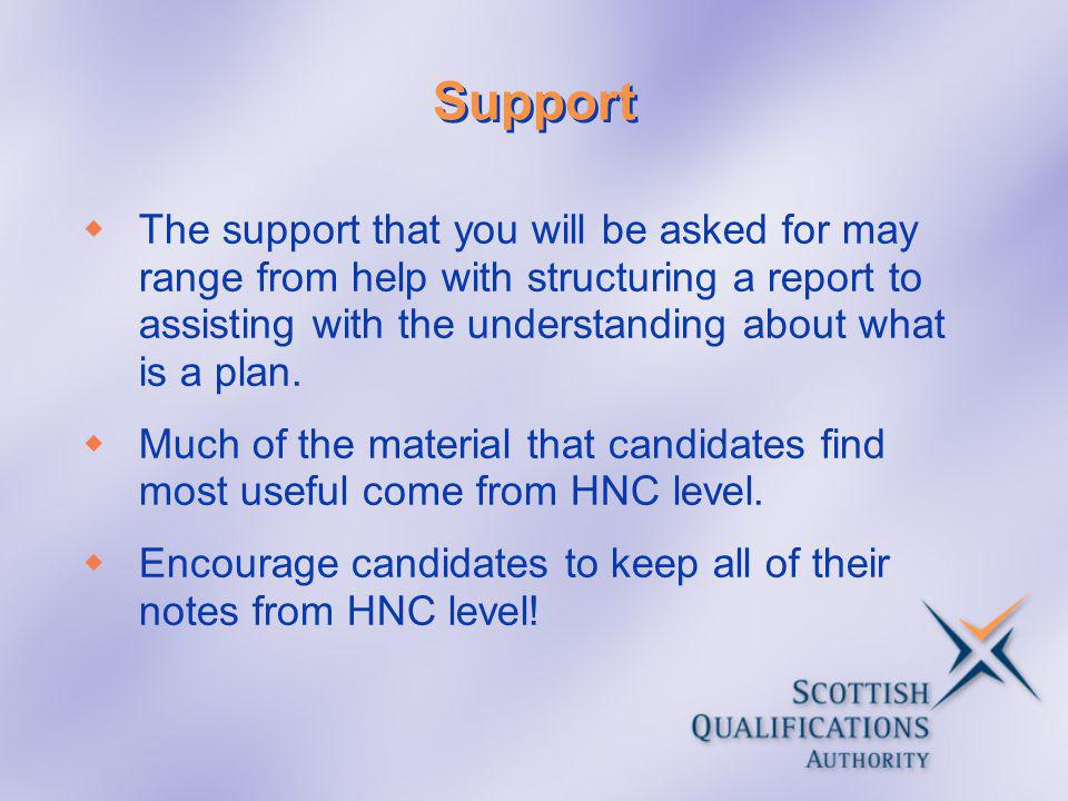 Support The support that you will be asked for may range from help with structuring a report to assisting with the understanding about what is a plan.