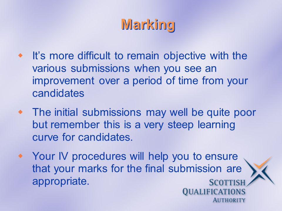 Marking Its more difficult to remain objective with the various submissions when you see an improvement over a period of time from your candidates The