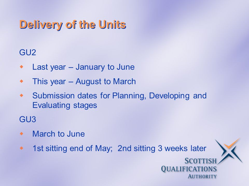 Delivery of the Units GU2 Last year – January to June This year – August to March Submission dates for Planning, Developing and Evaluating stages GU3
