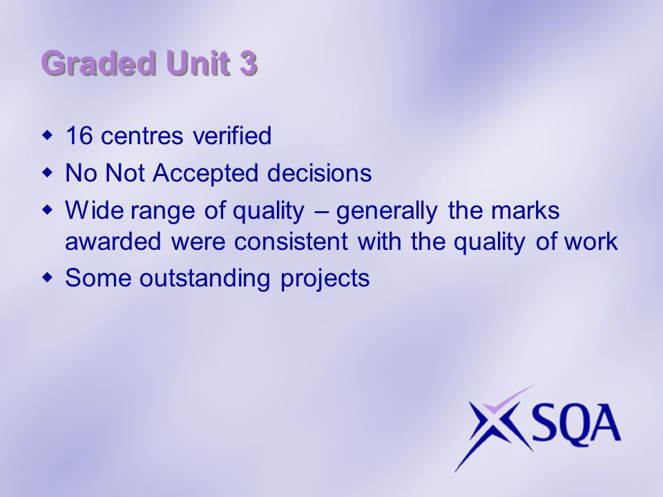 Graded Unit 3 16 centres verified No Not Accepted decisions Wide range of quality – generally the marks awarded were consistent with the quality of work Some outstanding projects