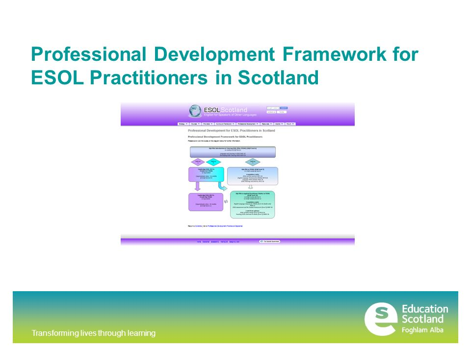 Transforming lives through learning Professional Development Framework for ESOL Practitioners in Scotland