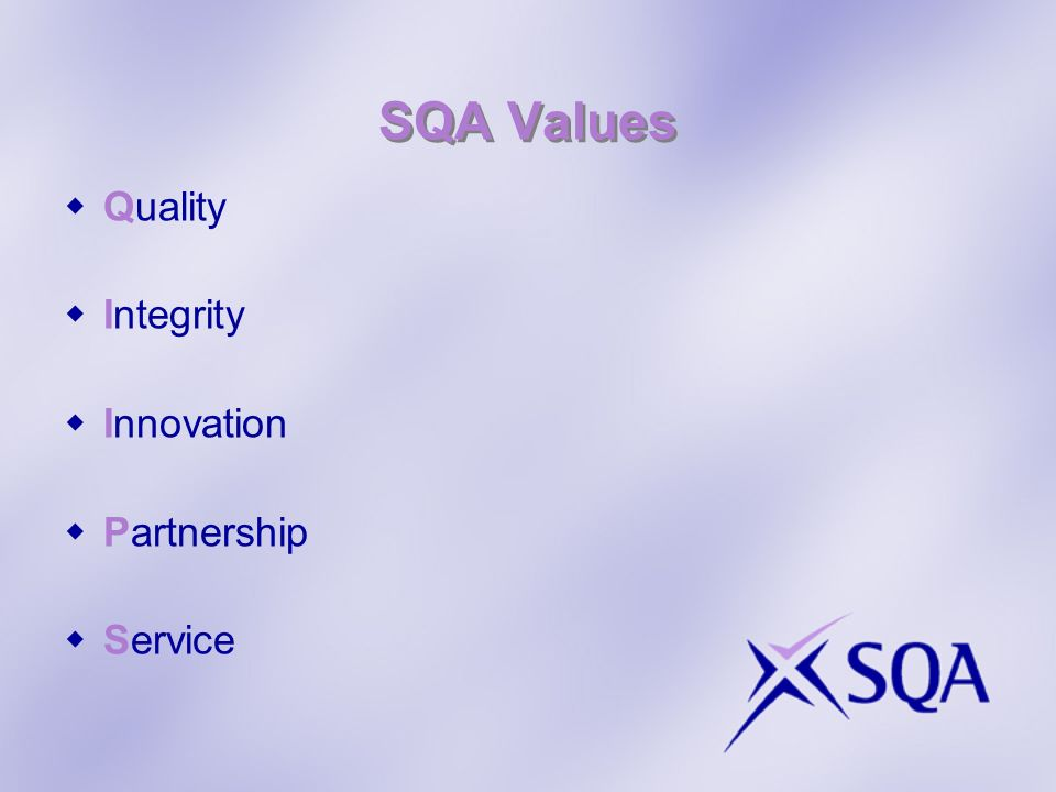 SQA Values Quality Integrity Innovation Partnership Service