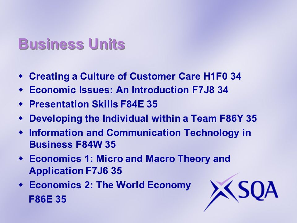 Business Units Creating a Culture of Customer Care H1F0 34 Economic Issues: An Introduction F7J8 34 Presentation Skills F84E 35 Developing the Individ