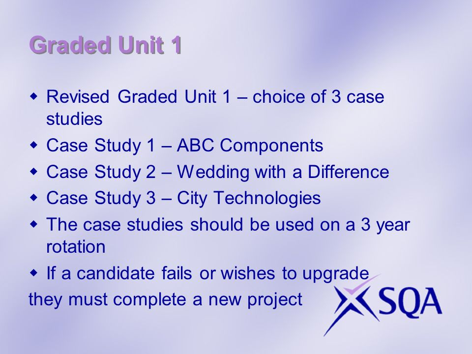 Graded Unit 1 Revised Graded Unit 1 – choice of 3 case studies Case Study 1 – ABC Components Case Study 2 – Wedding with a Difference Case Study 3 – C