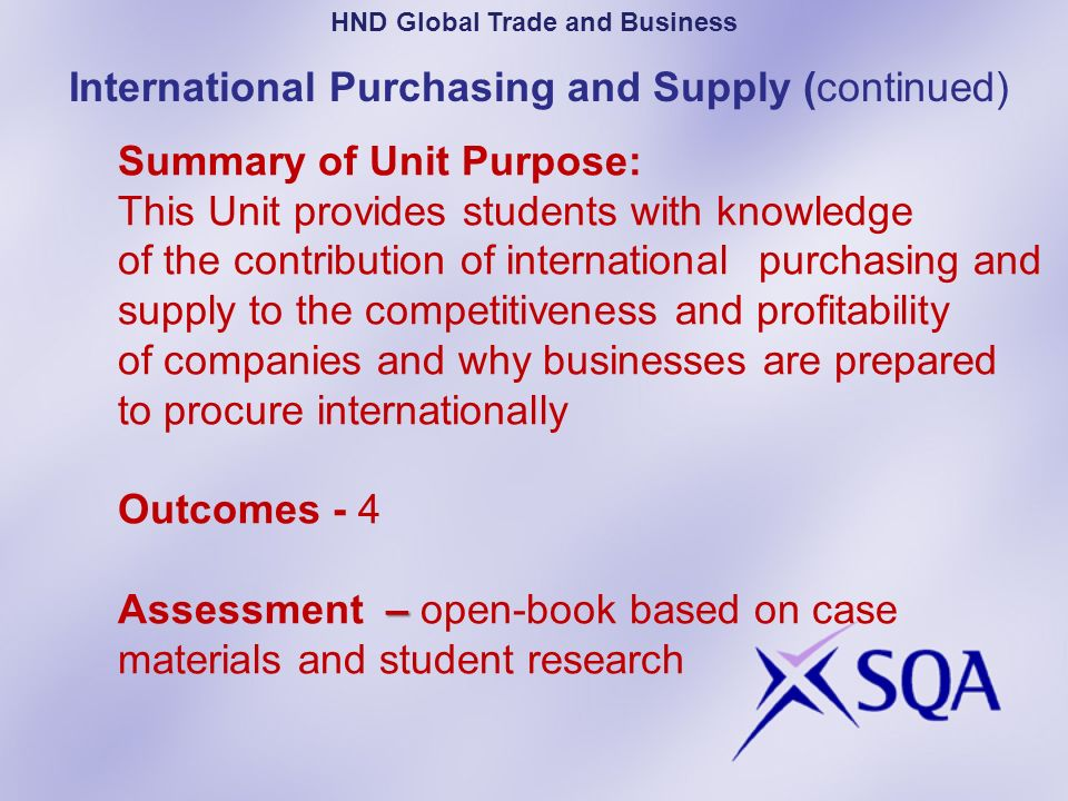 – Summary of Unit Purpose: This Unit provides students with knowledge of the contribution of international purchasing and supply to the competitivenes